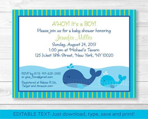 Lil Blue Whale Ahoy! Its A Boy! Printable Baby Shower Invitation Editable PDF #A215