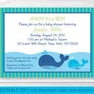 Lil Blue Whale Ahoy! Its A Boy! Printable Baby Shower Invitation Editable PDF #A215