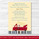 Fire Truck Engine 27 Dalmation Printable Baby Shower Invitation Editable PDF #A272