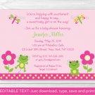 Girl Frog Dragonfly Garden Printable Baby Shower Invitation Editable PDF #A209