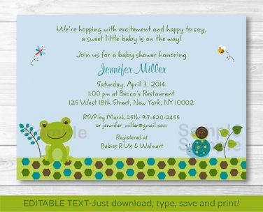 Frog Snails Pond Pals Printable Baby Shower Invitation Editable PDF #A275