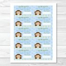 Mod Monkey Jungle Safari Baby Blue Printable Baby Shower Diaper Raffle Tickets #A164
