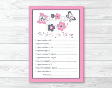 Pink Gray Butterfly Flowers Printable Baby Shower Wishes For Baby Advice Cards #A216