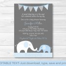 Blue Chevron Elephant Mom & Baby Printable Baby Shower Invitation Editable PDF #A187