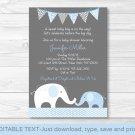 Blue Chevron Elephant Mom & Baby Printable Baby Shower Invitation Editable PDF #A187