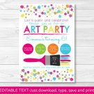 Art Birthday Party Rainbow Art Party Printable Birthday Invitation Editable PDF #A280