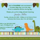 Dinosaur Friends Blue Printable Baby Shower Invitation Editable PDF #A281
