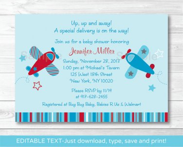 Little Aviator Airplane Blue Red Printable Baby Shower Invitation Editable PDF #A283