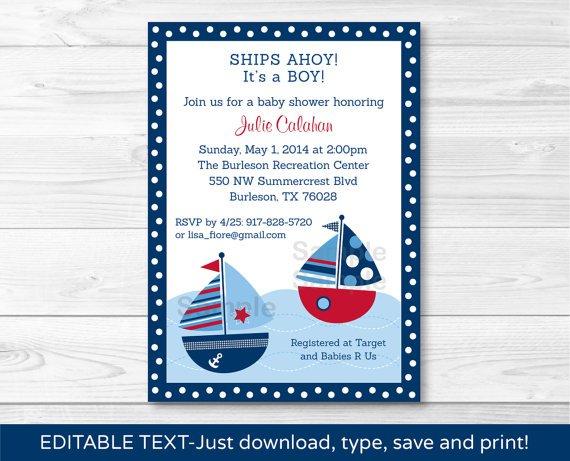 Sail Away Sailboat Nautical Blue Printable Baby Shower Invitation Editable PDF #A123