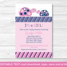 Mod Pink Turtle Mom And Baby Printable Baby Shower Invitation Editable PDF #A286