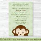 Mod Boy Monkey Jungle Safari Green Printable Baby Shower Invitation Editable PDF #A125