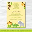 Bright Safari Jungle Animals Printable Baby Shower Invitation Editable PDF #A196