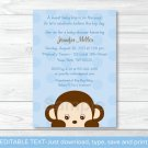 Mod Boy Monkey Jungle Safari Blue Printable Baby Shower Invitation Editable PDF #A175