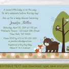 Bear Fox Owl Forest Friends Printable Baby Shower Invitation Editable PDF #A290