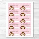 Mod Girl Monkey Jungle Safari Printable Baby Shower Diaper Raffle Tickets #A167
