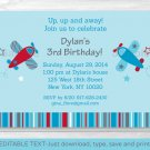 Little Aviator Airplane Blue Red Printable Birthday Invitation Editable PDF #A155