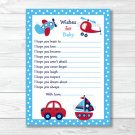 Around The Town Car Plane Printable Baby Shower Wishes For Baby Advice Cards #A137