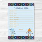 Baby Bots Robot Printable Baby Shower Wishes For Baby Advice Cards #A228
