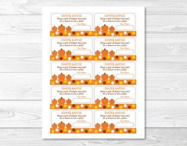 Lil Pumpkin Autumn Fall Harvest Printable Baby Shower Diaper Raffle Tickets #A248