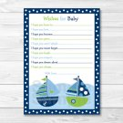 Sail Away Nautical Sailboat Printable Baby Shower Wishes For Baby Advice Cards #A210