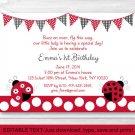 Little Red Ladybug Garden Printable Birthday Invitation Editable PDF #A214