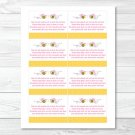 Pink Bumble Bee Printable Baby Shower Book Request Cards #A101
