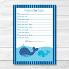 Lil Whale Nautical Printable Baby Shower Wishes For Baby Advice Cards #A295