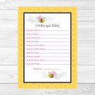 Pink Bumble Bee Printable Baby Shower Wishes For Baby Advice Cards #A101