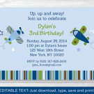 Lil Aviator Airplane Printable Birthday Invitation Editable PDF #A299