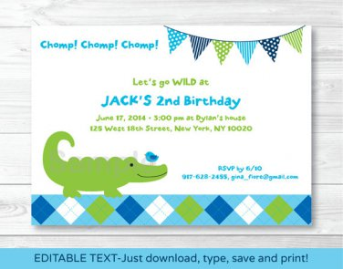 Preppy Alligator Argyle Printable Birthday Invitation Editable PDF #A300