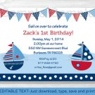 Sail Away Sailboat Nautical Blue Printable Birthday Invitation Editable PDF #A168