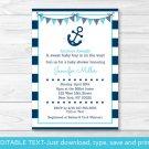 Nautical Anchor Printable Baby Shower Invitation Editable PDF #A222