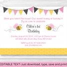 Pink Bumble Bee Printable Birthday Invitation Editable PDF #A154