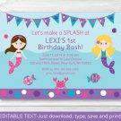 Mermaid Printable Birthday Invitation Editable PDF #A304