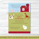 Farm Animals Cow Pig Sheep Horse Printable Birthday Invitation Editable PDF #A305