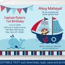 Pirate Monkey Nautical Whale Printable Birthday Invitation Editable PDF #A306