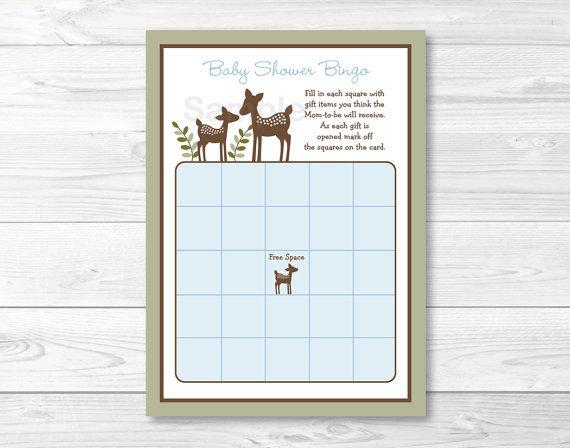 Willow Deer Blue Printable Baby Shower Bingo Cards #A204
