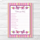 Baby Girl Pink Butterfly Printable Baby Shower Wishes For Baby Advice Cards #A221