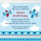 Airplane Aviator Printable Birthday Invitation Editable PDF #A308