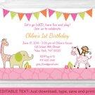 Pink Safari Girl Jungle Animal Printable Birthday Invitation Editable PDF #A309