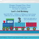 Choo Choo Train All Aboard! Printable Birthday Invitation Editable PDF #A312