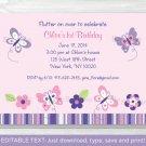 Pink Purple Butterfly Garden Printable Birthday Invitation Editable PDF #A120