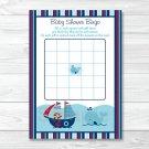 Pirate Monkey Nautical Whale Printable Baby Shower Bingo Cards #A287