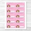 Lil Monkey Girl Jungle Safari Pink Printable Baby Shower Diaper Raffle Tickets #A153