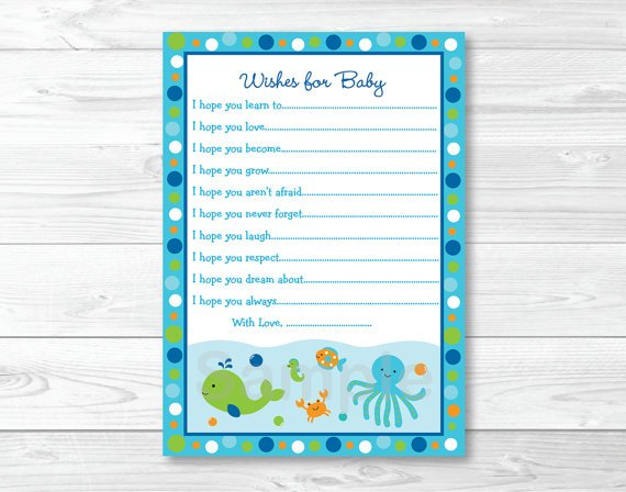Under The Sea Nautical Blue Printable Baby Shower Wishes For Baby Advice Cards #A237
