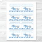 Blue And Grey Polka Dot Elephants Printable Baby Shower Book Request Cards #A135