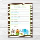 Jazzy Jungle Printable Baby Shower Wishes For Baby Advice Cards #A314