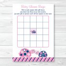 Mod Pink Turtle Mom And Baby Printable Baby Shower Bingo Cards #A286