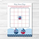 Sail Away Sailboat Nautical Blue Printable Baby Shower Bingo Cards #A123