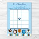 Sports Football Baseball Soccer Printable Baby Shower Bingo Cards #A119